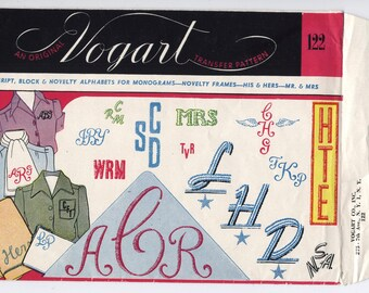"Various Monograms - Vogart #122 - UNCUT in Opened Packaging - 1 ""F"" MISSING! - On Sale!"