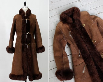 Shearling Coat XS/S • Long Suede Coat • Winter Coat • Princess Coat • 70s Coat • Fur Coat • Shearling Coat Small • Brown Suede Jacket | O359
