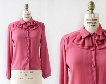 Ruffle Blouse S • 70s Blouse • Ruffle Collar Blouse • Vintage Button Up • Pink Blouse • Vintage Blouse • Pussybow Blouse | T794
