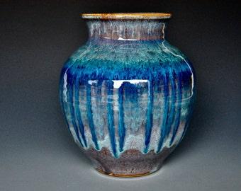 Blue Pottery Vase Stoneware Flower Vase Handmade Ceramic Vase Pottery D