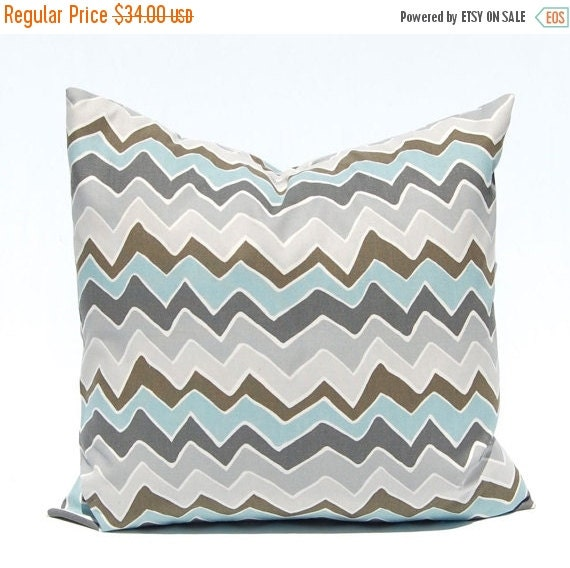 15% Off Sale Chevron Pillow Covers, Village Blue Pillow Covers, Pillows, 18 x 18 Throw Pillow Covers, Accent Pillows, Wonky Blue and Gray Ch