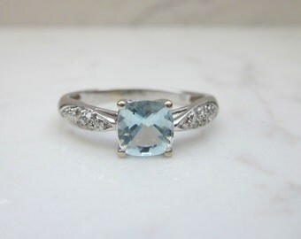 Estate Aquamarine and Diamond Accent 14k Solid White Gold Alternate Engagement Ring, Size 8