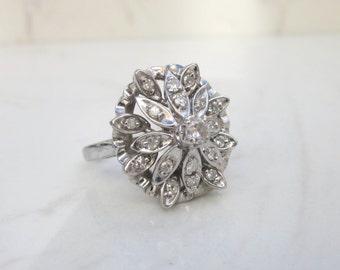 MidCentury Vintage DIamond Ornate Domed Ring Set in 14k Solid White Gold, Size 7