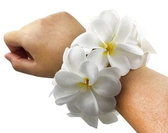 Prom/Wedding Corsage, Hawaiian Plumeria Flower Corsage, Faux Pearl Bracelet, Choose color