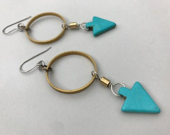 Turquoise Arrow and Brass Ring Dangle Earrings