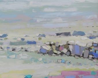 White Sea Tide Impasto painting Large artwork Intuitive art Pastel tones vertical canvas Oceanview Impressionistic Allaprima Seaview Workart