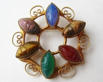 Vintage Egyptian Revival Carved Scarab Beetle 12k Gold Filled Brooch Pin