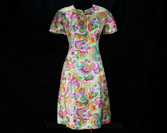 Size 6 Spring Silk Dress - As Is - Exquisite Floral Flourish Fabric - Short Sleeved 1960s Sheath - Vivid Pink Green Orange - Bust 34 - 48652