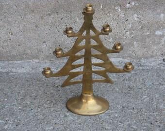 brass tree candleholder 1970s taper candleholder boho brass candelabra vintage Christmas modern