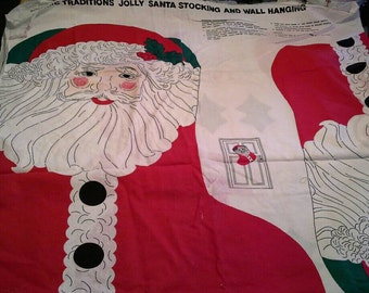 Santa Claus Stocking and Wall Hanging Easy DIY Fabric Panel X0698