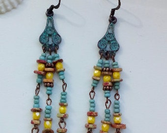 Patina on copper earrings with Greek casting beads