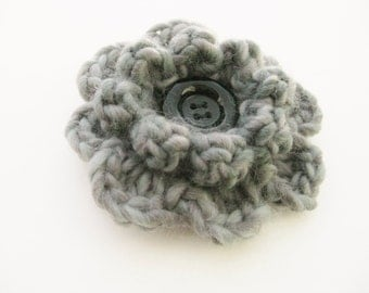 Crochet Flower Pin-Gray Flower Pin- Flower Brooch-Grey Crochet Flower-Crochet Flower with Button-Crocheted Pin-Gray Crochet Brooch