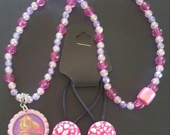 Skye from Paw patrol Handmade Beaded Necklace and 2 x Hair Ties