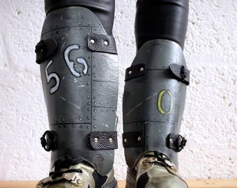 Leather Dystopian Shin Guards - Grey - mad max, apocalypse, fury road, burning man, please read description carefully for size