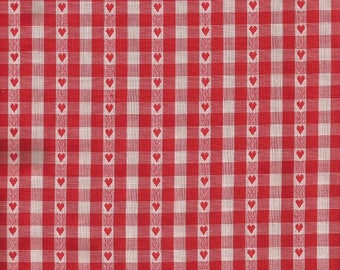 Vintage Red and White Gingham Fabric with Hearts 1 yard and 15 inches