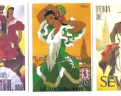 6 Postcards SEVILLANA - Assorted typical SEVILLA unused post cards from Spain
