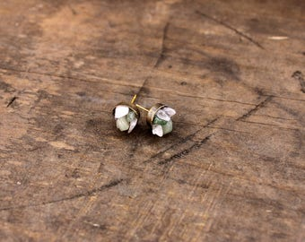 Rose and Green Quartz Earrings