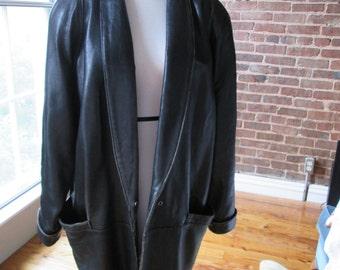 Vintage All Leather Black Wilson Ladies Coat, 1980s