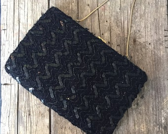 1960s Ingber Black Sequin Evening Clutch