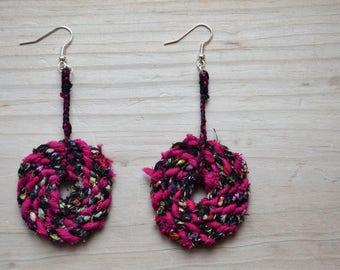 Pink and Black Repurposed Fabric Dangly Hoop Statement Earrings