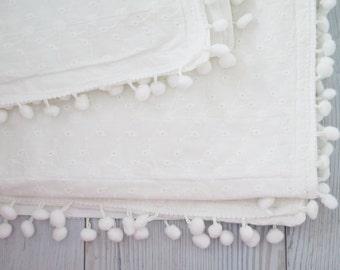 Christening blanket , baptism blanket , baby baptism blanket , baptism gift , pom pom blanket , white blanket