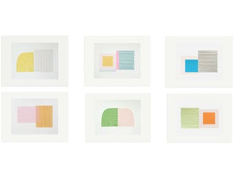 Feature wall art, set six screenprints, handmade original retro Mid Century Modern abstract prints by Emma Lawrenson