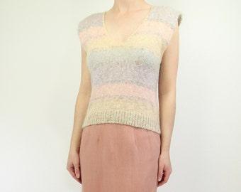 VINTAGE Mohair Sweater Pastel Rainbow Stripe Sleeveless