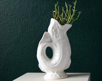 VINTAGE Mid Century Vase White Koi Fish Porcelain