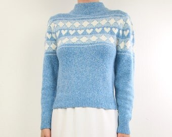 VINTAGE Heart Sweater Soft Angora Silk Blue 1980s Knit