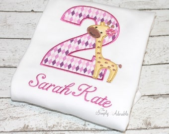 Girl's Giraffe Birthday Shirt, Personalized Giraffe Shirt, Zoo Party, Jungle Birthday, Customize with your choice of colors