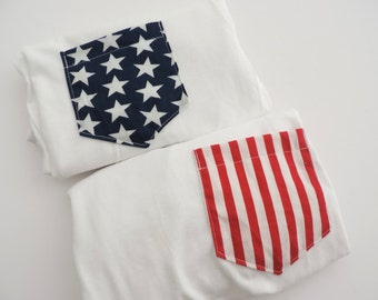 American Flag Stars & Stripe Pocket Tee T-shirt Set of 2 // Size S-2XL