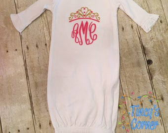 Three Initials with Crown Monogrammed Ruffled Long Sleeve Infant Gown