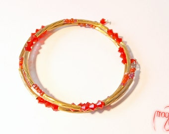 Bracelet (Memory Wire) - Golden Cherry