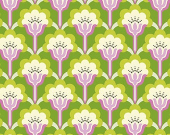 Nicey Jane Slim Pop Blossom in Green by Heather Bailey - 1 Yard