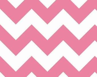 On Sale Riley Blake Fabric - 1 Yard of Large Chevron in Hot Pink