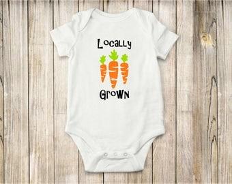 Locally Grown, Onesie, Bodysuit, Carrots, Baby Clothing, Shirt, Farm