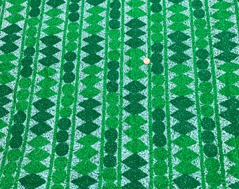 Vintage 50s Geometric Fabric 2.5 yards Kelly Green and Spruce Green Schwartz and Liebman