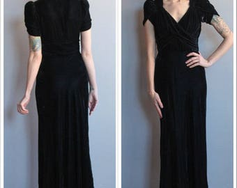 1930s Gown // Luxurious Velvet Gown // vintage 30s gown