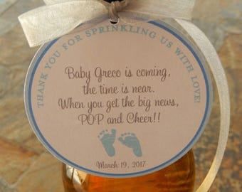 """30 Baby Shower Custom 3"""" Thank You Favor Tags - For Wine and Champagne Bottles - Pop and Cheer with Poem - Baby Feet Shower or Sprinkle Tags"""