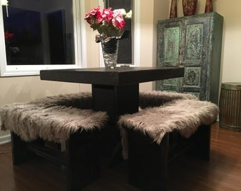 3 foot x 3 foot table and 4 benches