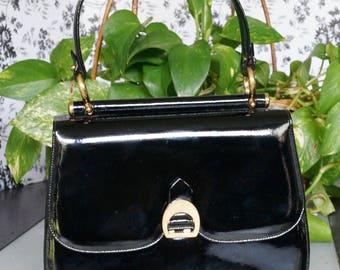 Free Shipping! Vtg. SUSAN GAIL Black Patent Leather Purse Handbag with Gold Hardware Details