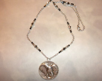 Silver Metal Elephant Disk Pendant Necklace