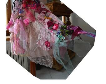 Wonderful Skirt Unique Art To Wear Romantic and Wild ROSES  Fairy Cinderella Boho Hipie Tattered