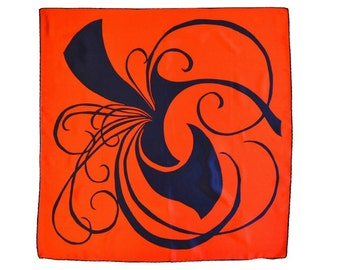 Italian Silk Scarf 30 in. sq. Modern Design Bright Navy on Brilliant Red Sport & Travel Navy Hand Rolled Hem Nearly Perfect Dry Cleaned