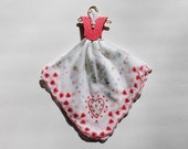 Vintage Hanky Dress red and white, blue  floral and hearts hanky with red embossed bodice