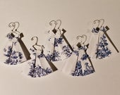 """Five Miniature Origami Dress with hanger blue toile dress (about 1 3/4"""" x 1 3/4"""")"""