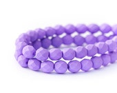 WE'RE BACK! Matte Saturated Purple Czech Glass Beads, Opaque Violet Faceted Fire Polished Round Spacers, 6mm x 25pc