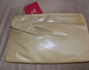 Morris Moskowitz Vintage Beige Calf Skin Leather Clutch Handbag, 1960s, Roomy, Excellent Condition