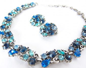 Gift For Women Blue Necklace Vintage Jewelry Vintage Lisner Necklace and Earrings Blue Rhinestone Necklace Choker Necklace Gift For Her A115