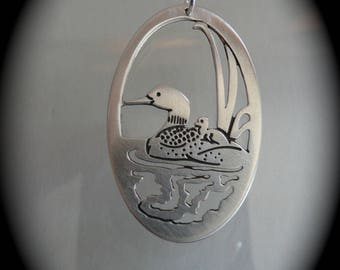 Loons, Loon jewerly, gift ideas, loon  mother and baby,  handmade jewelry,  reversible pendant, bird art jewelry, animal totem, loon art